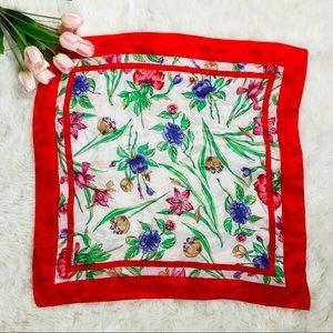 30x30 Oscar de la Renta red floral silk scarf